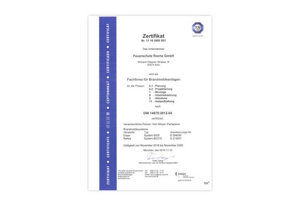 Zertifizierung nach DIN 14675 für Brandmeldesysteme der Fa. ESSER ...